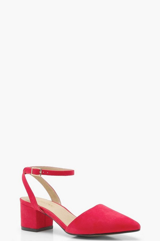 Tia Wide Fit Wrap Pointed Block Heel Flats