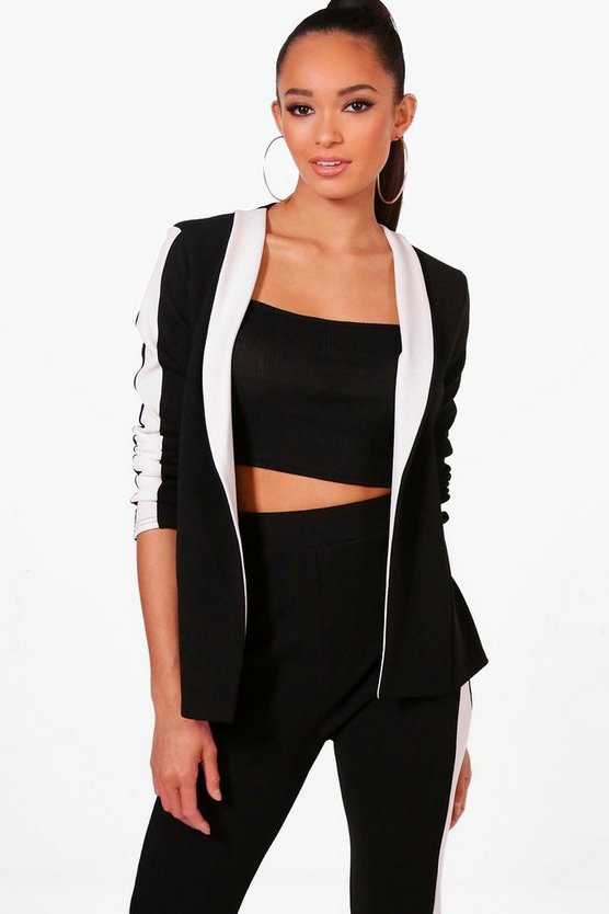 Emily Contrast Lapel And Stripe Blazer