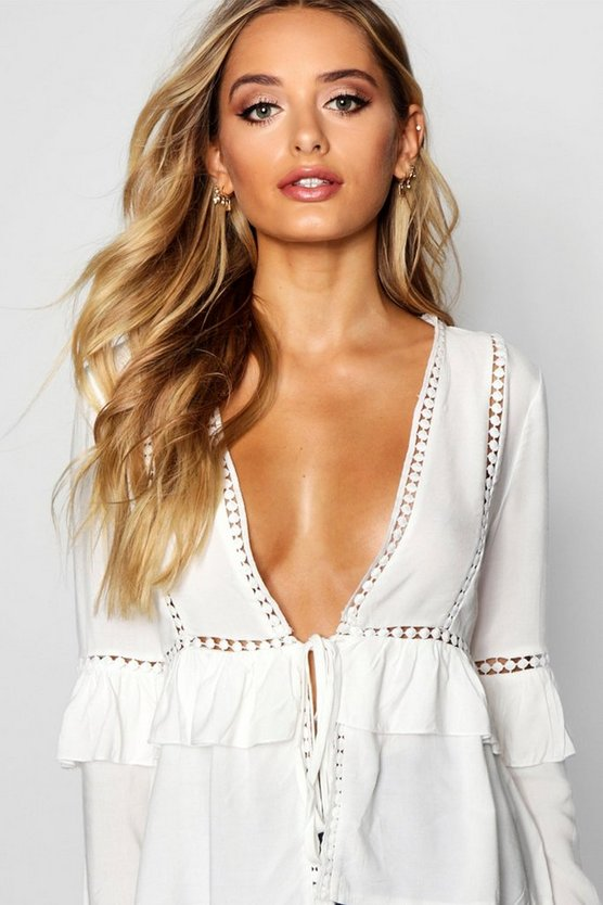Laura Woven Ruffle Crochet Tie Front Blouse by Boohoo