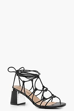 Calzata ampia a gabbia allacciato sandali da gladiatore