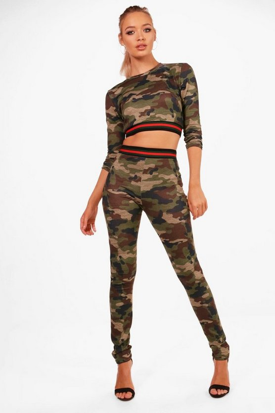 Athleisure Sport Stripe Slim Fit Camo Set