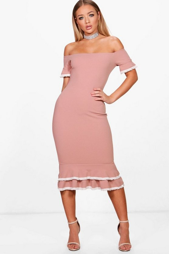 Helena Bardot Frill Lace Trim Midi Dress