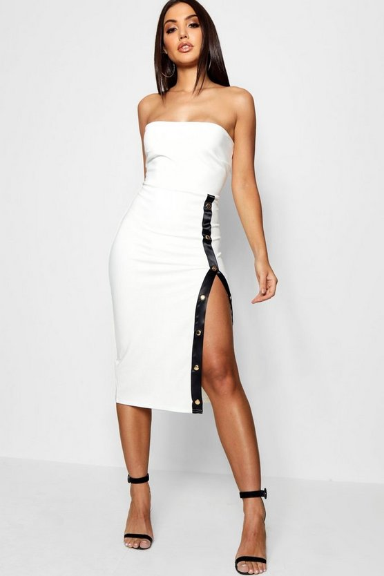 Sports Popper Thigh Split Midi Dress