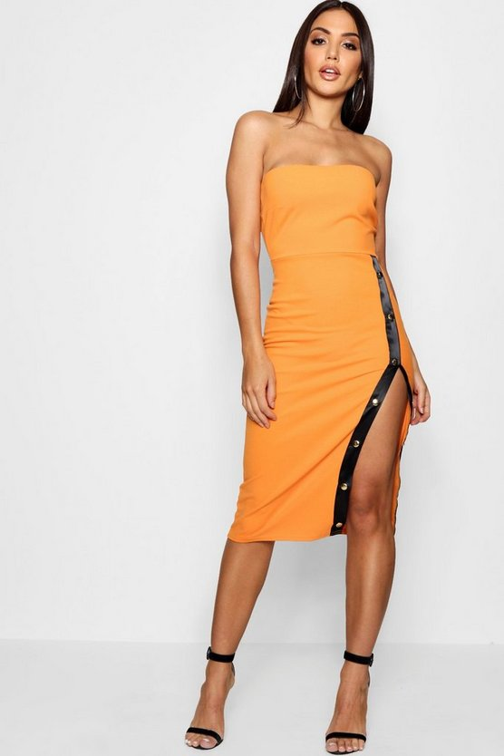 Jenny Sports Popper Thigh Split Midi Dress