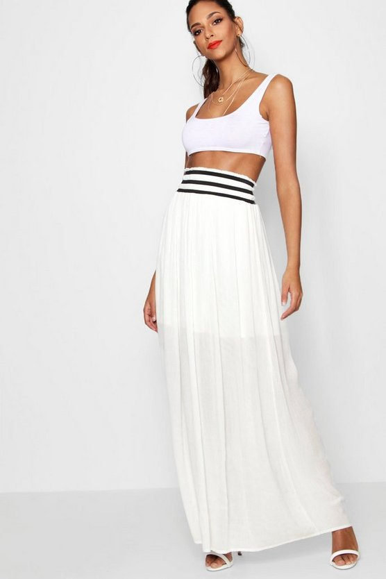 Woven Cheesecloth Shirred Waist Maxi Skirt