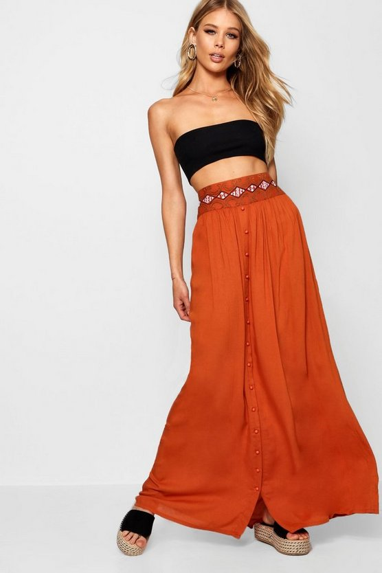Woven Embroidered Button Through Maxi Skirt