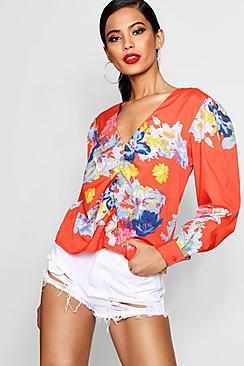 Gerüschtes Bluse mit vorderseitigem Blumen-Print - Boohoo.com