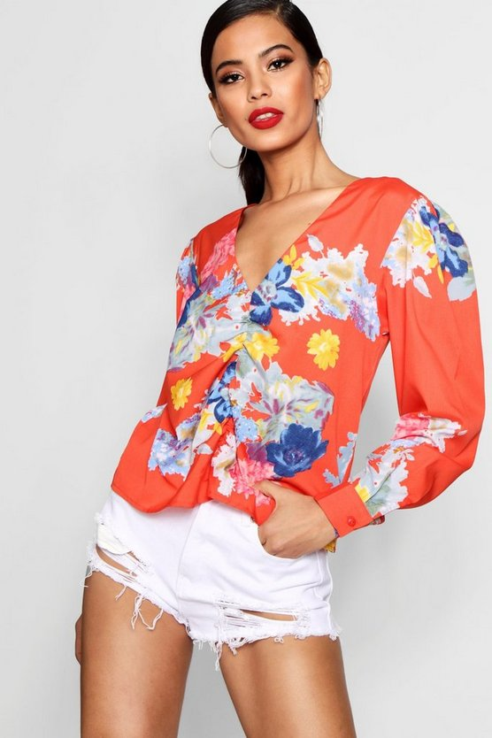 Ruched Front Floral Blouse