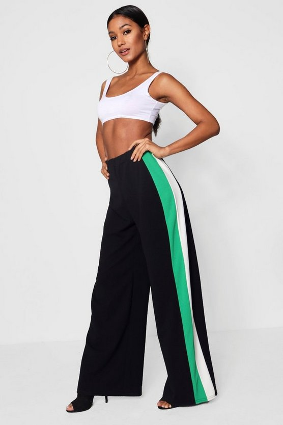 Mia Contrast Stripe Wide Leg Crepe Trousers