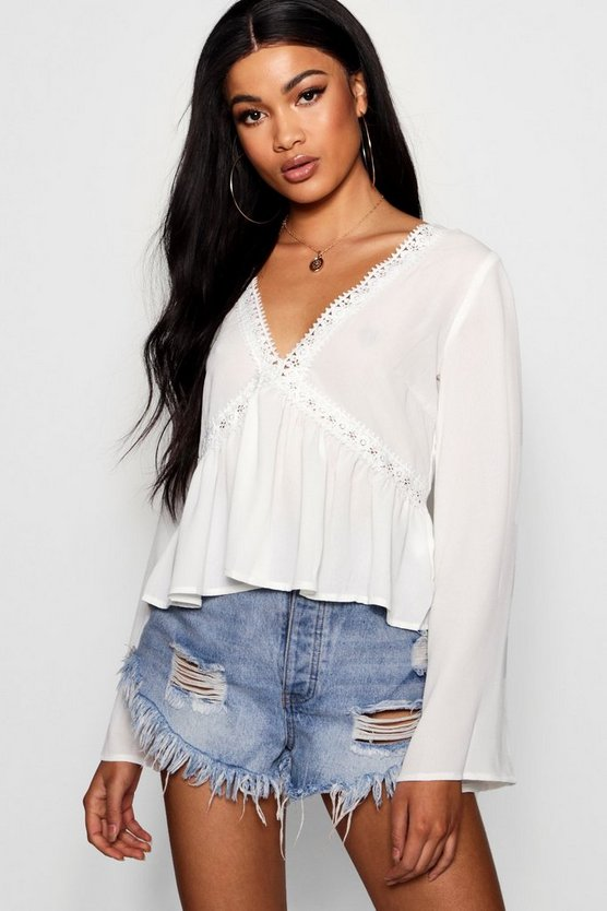 Freya Deep V Front + Back Crochet Trim Top