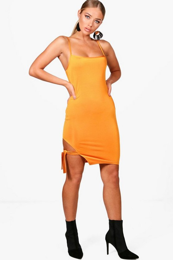 Sadie Square Neck Tie Side Bodycon Dress
