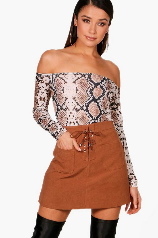 Danielle Lace Up A Line Suedette Mini Skirt