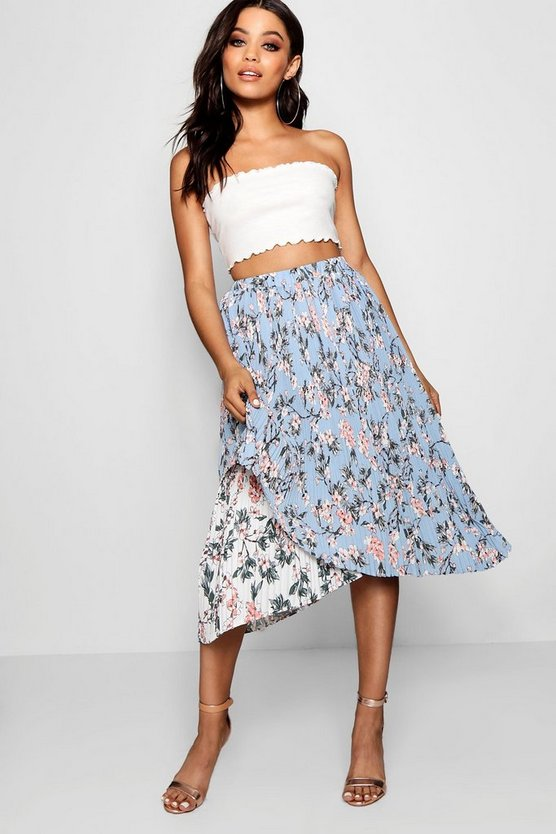 Emilia Woven Floral Pleated Asymetric Skater Skirt