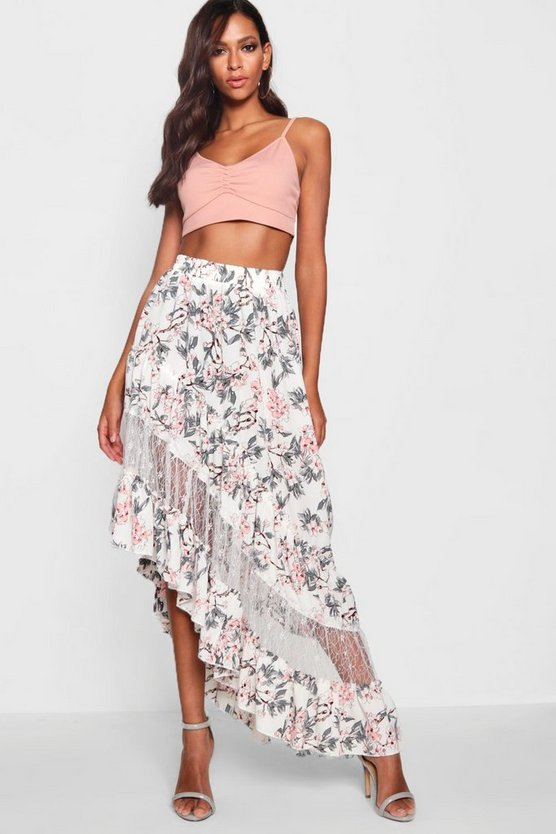 Rosa Woven Floral Lace Detail Maxi Skirt