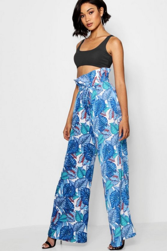 Woven Paperbag Palm Print Trousers