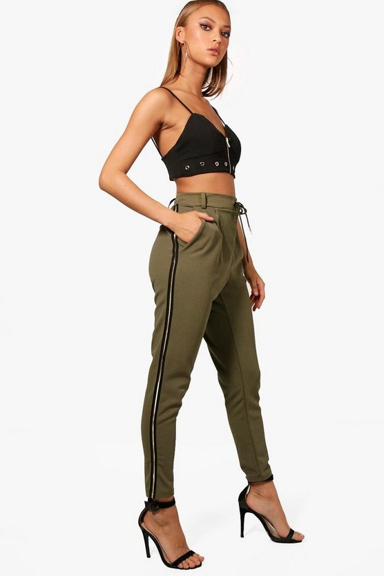 Jessica Gold Side Stripe Woven Joggers
