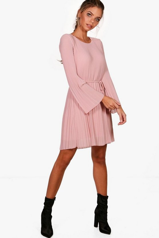 Polly Pleated Shift Dress
