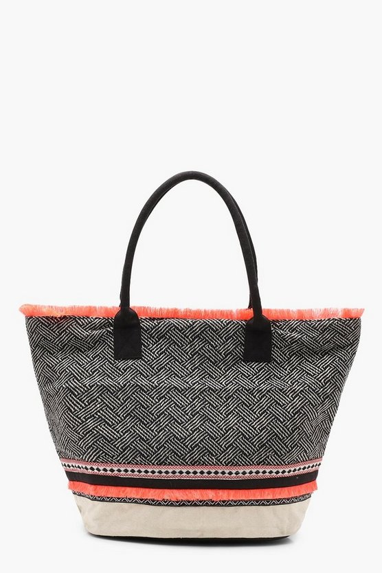 Neon Trim Woven Beach Bag
