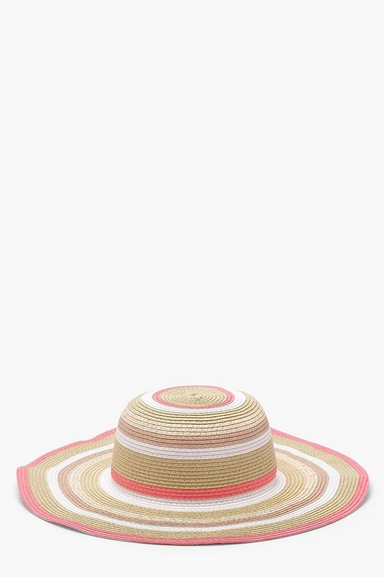 Laura Metallic Stripe Floppy Straw Hat