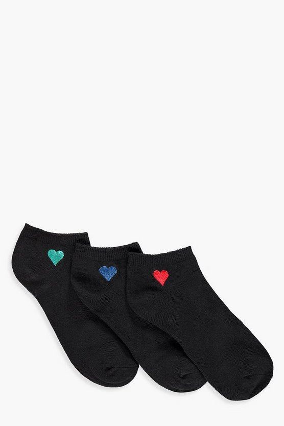 Emma Embroidered Heart 3 Pack Ankle Socks