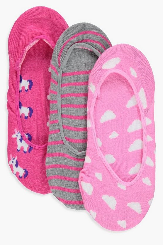 Millie Unicorn 3 Pack Invisible Socks