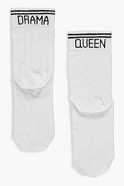 Calzini sportivi alla caviglia con righe e Slogan Drama queen