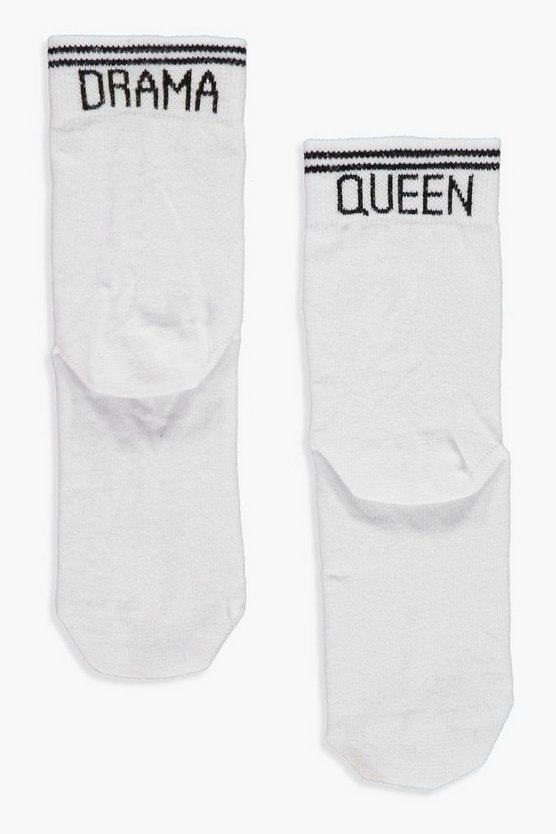 Amy Drama Queen Slogan Sports Stripe Socks