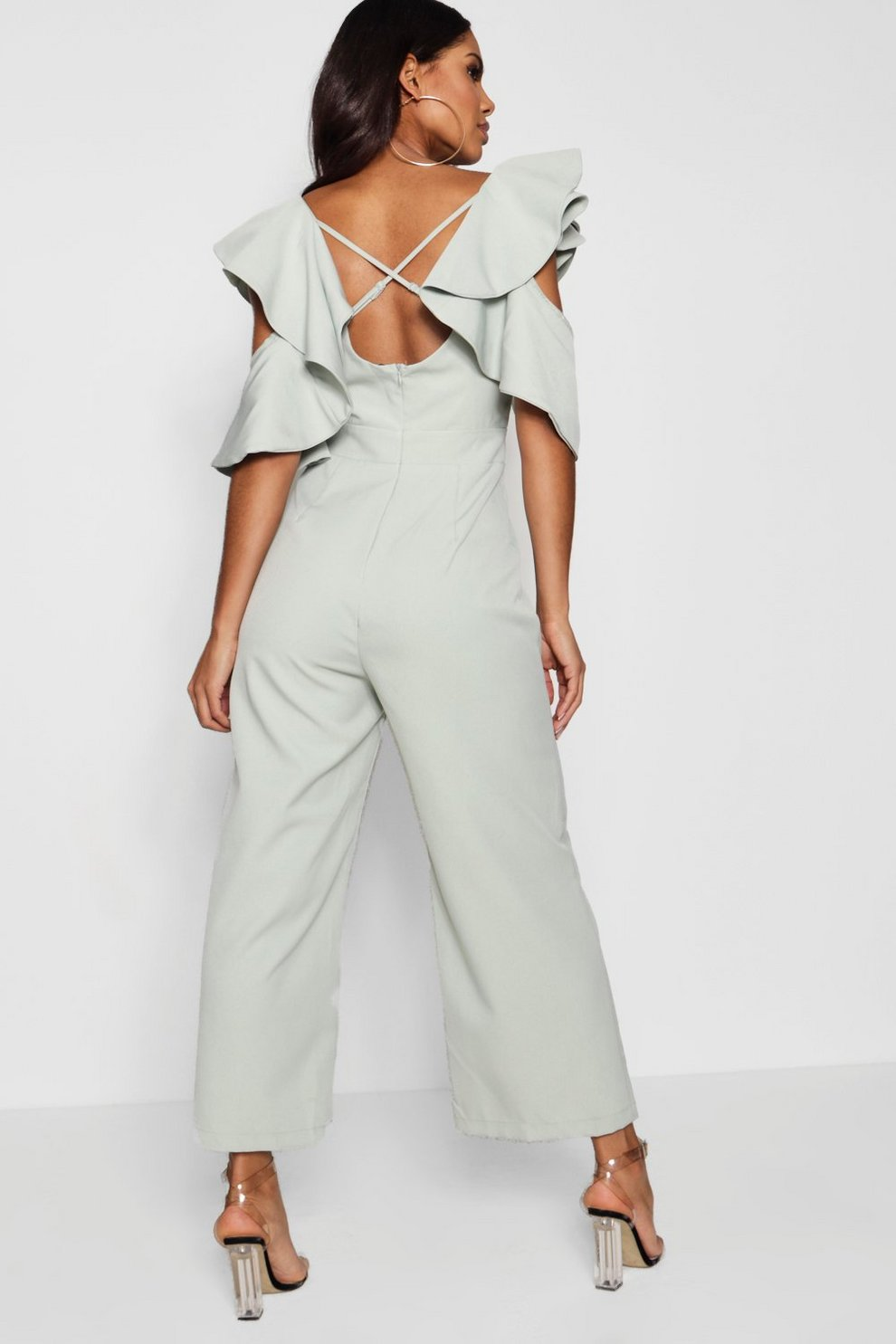 Boohoo Statement Ruffle Cross Back Jumpsuit