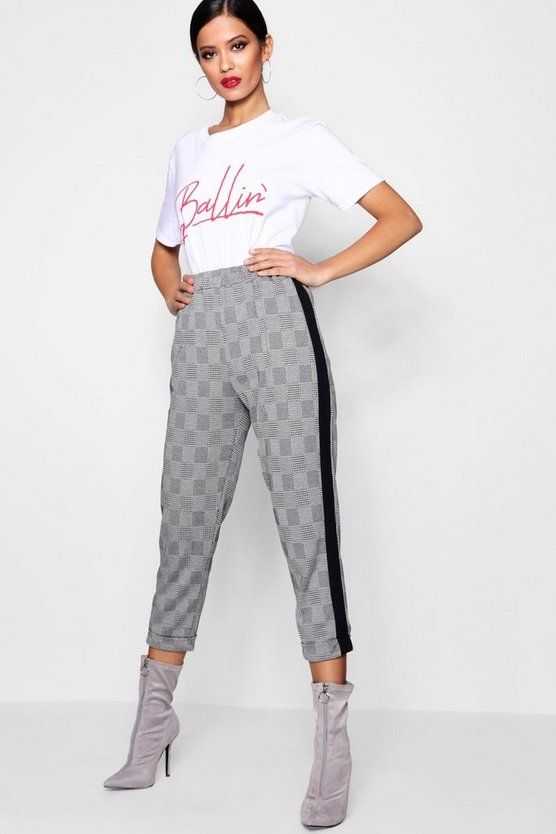 Natalie Sports Stripe Check Trouser