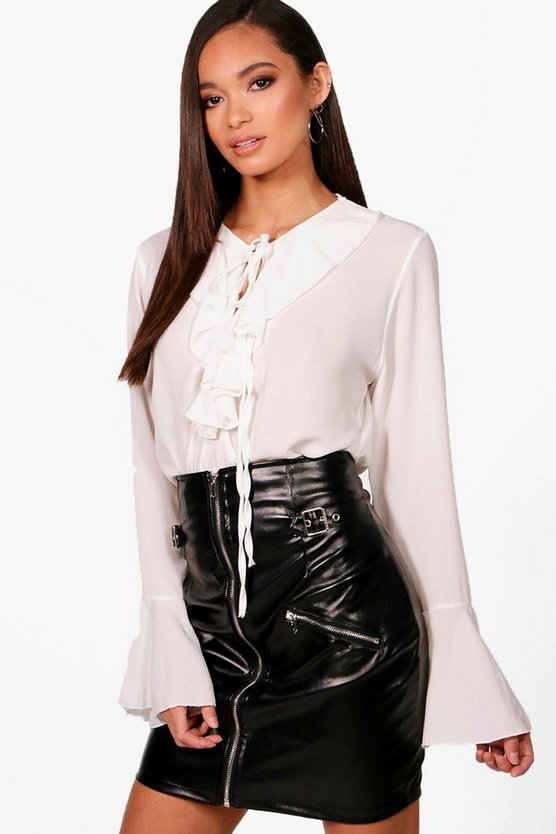 Annabelle Ruffle Tie Front Blouse