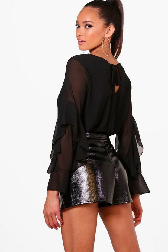 Ruffle Sleeve Bow Back Blouse