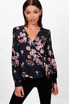 Blumen-Print Bluse mit Wickelung und Bindung - Boohoo.com
