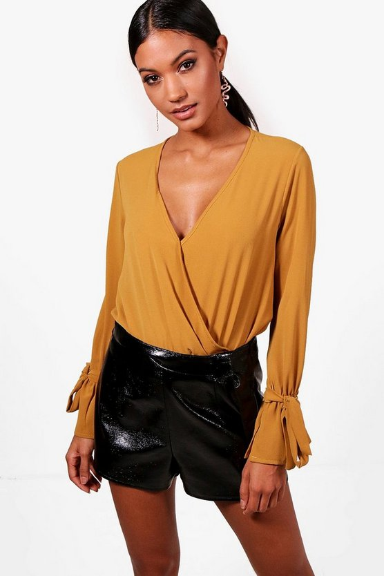 Wrap Over Tie Sleeve Bodysuit