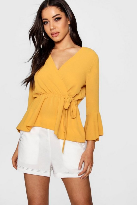 Ava Wrap Over Tie Blouse