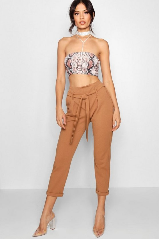 Paper Bag Waist Tapered Trouser