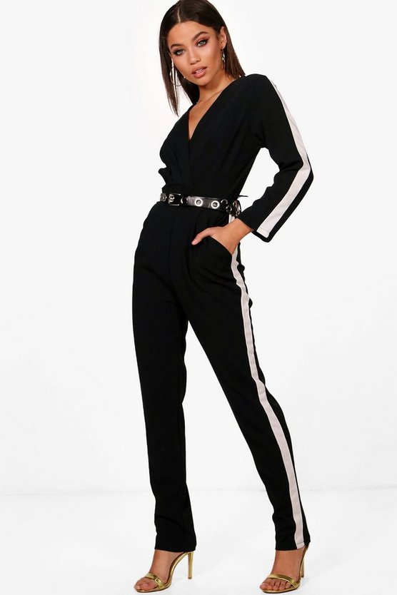 Long Sleeve Sports Stripe Jumpsuit