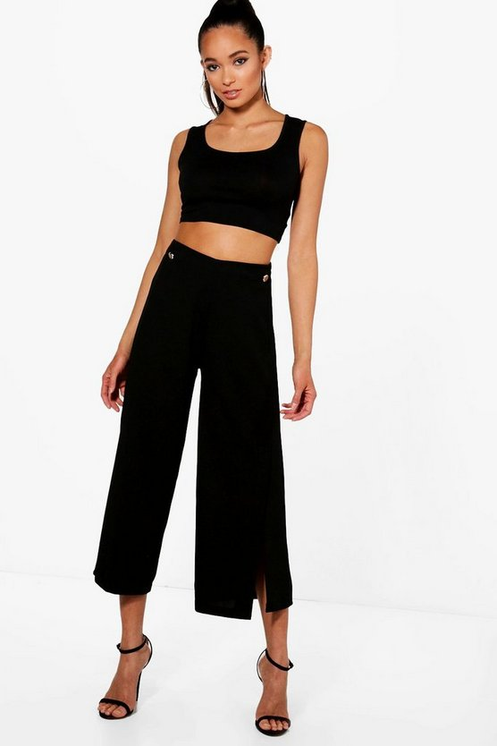 Mary Button Detail Split Culottes