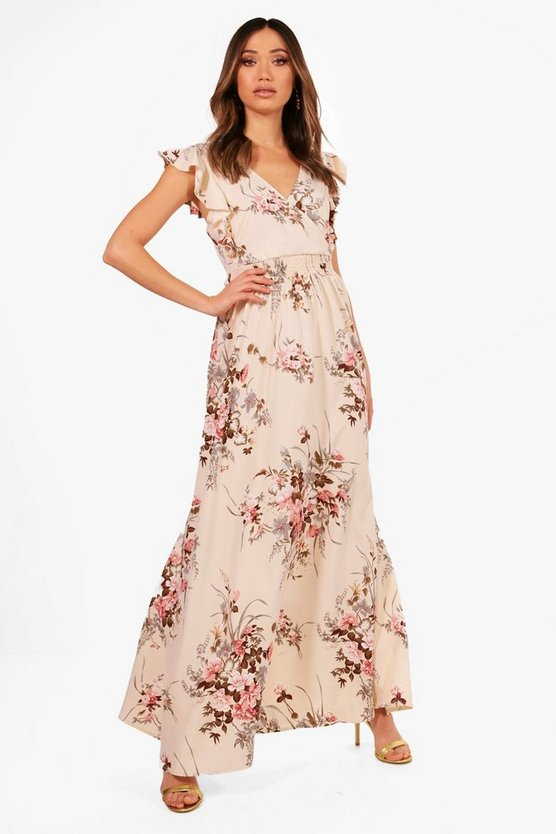 Boutique Floral Bow Back Maxi Dress