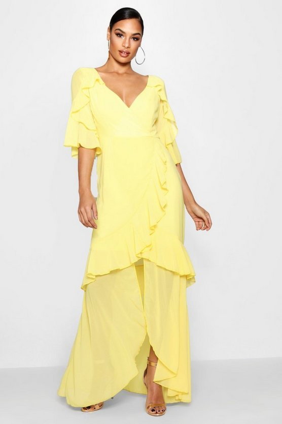 Leia Chiffon Ruffle Maxi Dress