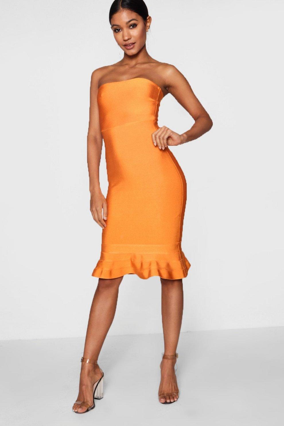 Boohoo Premium Bandage Bandeau Frill Hem Midi Dress Amazing Price TkFjd