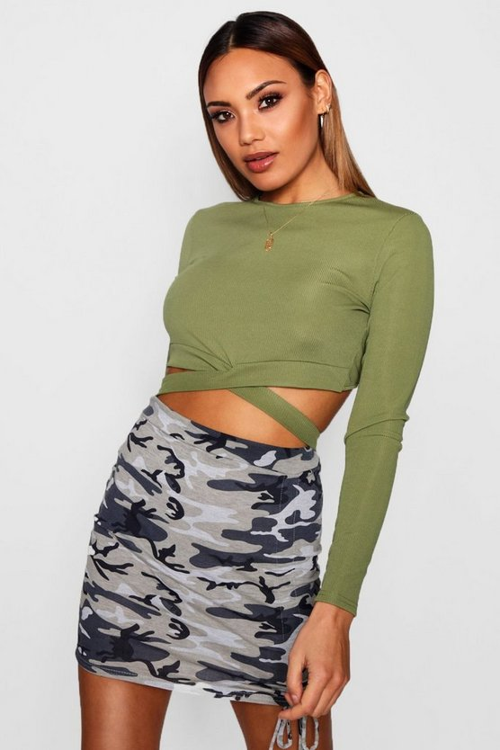 Lily Rib Longsleeve Cut Out Crop