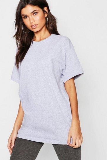 Grey marl Basic Oversized Boyfriend T-shirt
