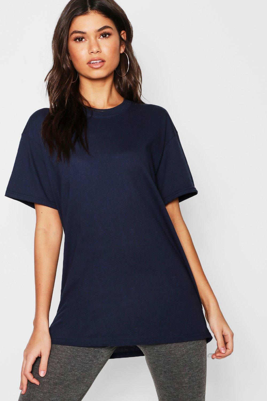 Womens Übergroßes Basic-T-Shirt - navy - L, Navy - Boohoo.com