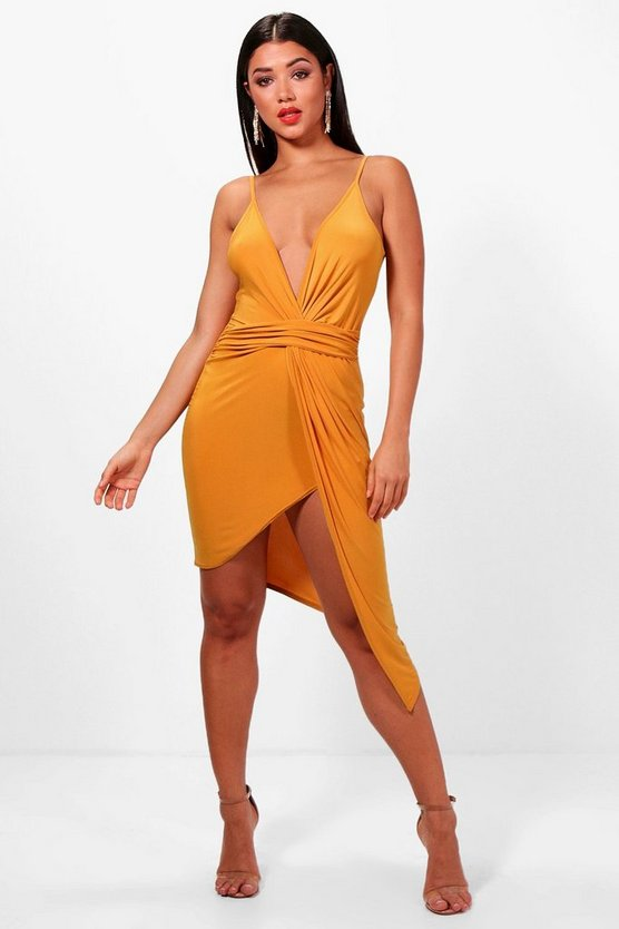 Sara Strappy Plunge Drape Bodycon Dress