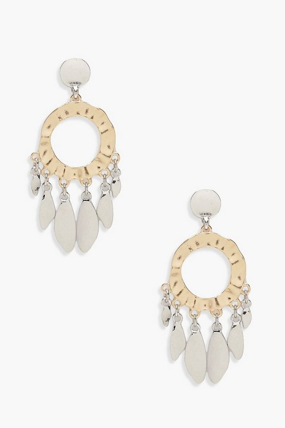 Kelly Hammered Circle & Leaf Earrings