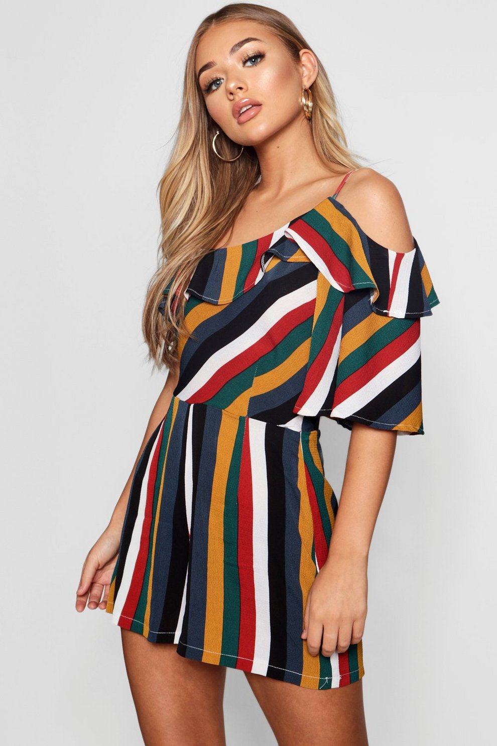 Boohoo Bold Stripe Ruffle Playsuit Clearance Visit Cheap Footaction Factory Price A1PdRI6M