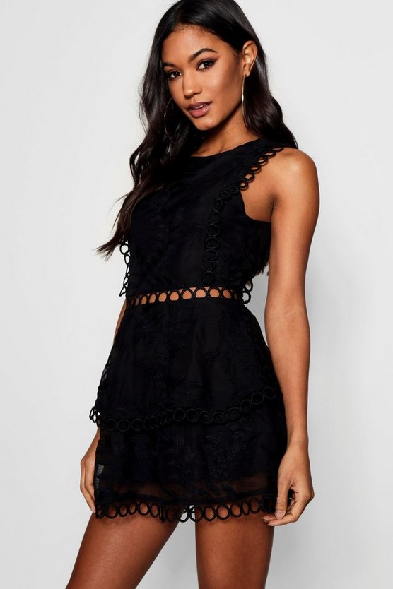 Boutique Harriet Crochet Detail Playsuit by Boohoo