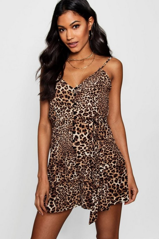 Leopard Print Slip Style Ruffle Playsuit