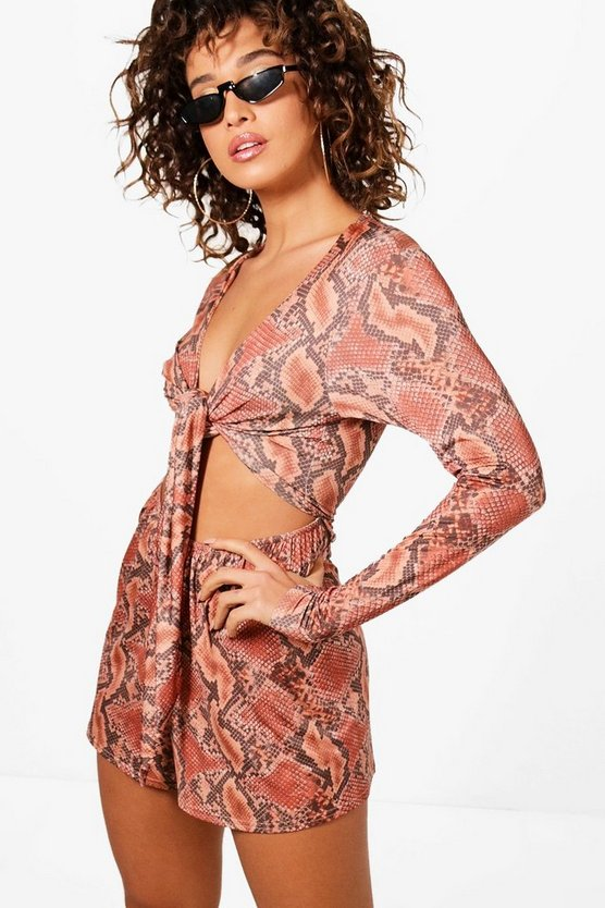 Wrap Front Tie Belt Snake Print Playsuit