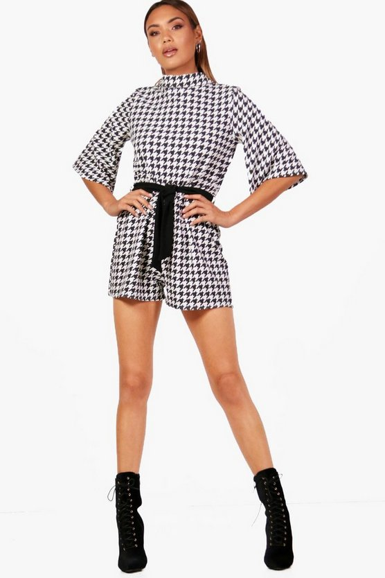 Dogstooth High Neck Flare Sleeve Playsuit